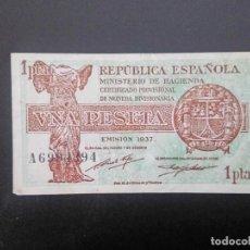 Billetes españoles: BILLETE DE 1 PTA DE 1937. REPUBLICA . .. .. ..ES EL DE LAS FOTOS. Lote 198912565