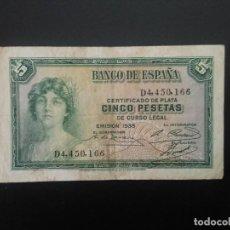 Billetes españoles: BILLETE DE 5 PTAS DE 1935 . .. .. ..ES EL DE LAS FOTOS. Lote 198912830