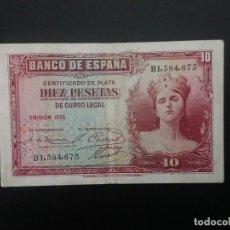 Billetes españoles: BILLETE DE 10 PTAS DE 1935 .. PRECIOSO.. . .. ..ES EL DE LAS FOTOS. Lote 198913033