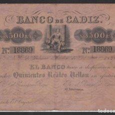 Billetes españoles: 500 REALES VELLON 1847 BANCO DE CADIZ MBC-. Lote 198991286