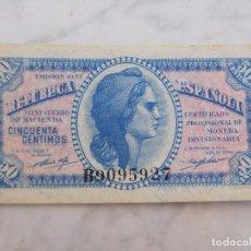 Billetes españoles: BILLETE ESPAÑA. 50 CENTIMOS AÑO 1937 SERIE B. Lote 199143915