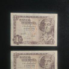 Billetes españoles: PAREJA CORRELATIVA SIN SERIE PESETA 1948. Lote 199194468
