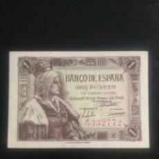 Billetes españoles: 1 PESETA 1945 SIN SERIE SC. Lote 199194867