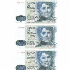 Billetes españoles: LOTE 3 BILLETES 500 PTS 1979 ROSALIA DE CASTRO, SIN SERIE. Lote 199659308