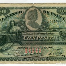 Billetes españoles: 100 (CIEN) PESETAS ALFONSO XII MADRID 15 DE JULIO DE 1907. Lote 199774350