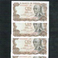 Billetes españoles: LOTE 4 BILLETES DE 100 PTS 1970 M. FALLA SERIE 7G SEGUIDOS. Lote 200118856