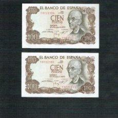 Billetes españoles: LOTE 2 BILLETES DE 100 PTS M. FALLA PLANCHA SERIE V CONSECUTIVOS. Lote 200138908