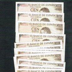 Billetes españoles: LOTE DE 14 BILLETES DE 100 PTS. 1965 G. A. BECQUER, SIN SERIE. Lote 200153436