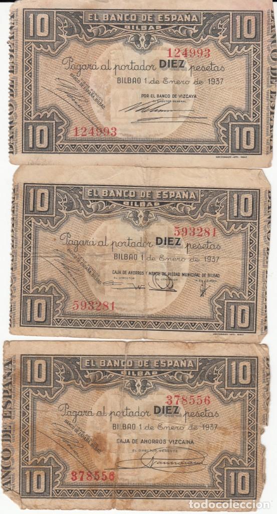 3 BILLETES DE 10 PTAS.BANCO DE ESPAÑA EN BILBAO - 1937 --------TRES FIRMAS DISTINTAS -------- (Numismática - Notafilia - Billetes Españoles)