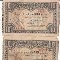 Billetes españoles: 3 BILLETES DE 10 PTAS.BANCO DE ESPAÑA EN BILBAO - 1937 --------TRES FIRMAS DISTINTAS -------- . Lote 200557478