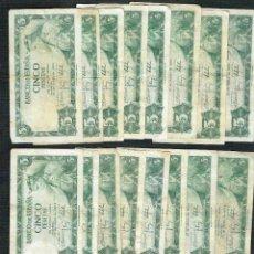 Billetes españoles: LOTE DE 16 BILLETES DE 5 PTS DE 1954 ALFONSO X , DIVERSAS SERIES. Lote 200839630