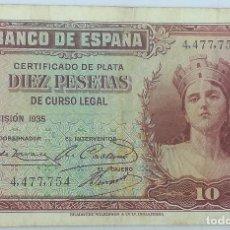 Billetes españoles: BILLETE 1935. 10 PESETAS. REPÚBLICA ESPAÑOLA. PRE GUERRA CIVIL. SIN SERIE. SS. MBC. Lote 200891063