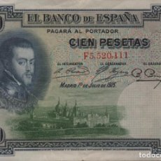Billetes españoles: ESPAÑA 100 PESETAS 1925. Lote 202007351
