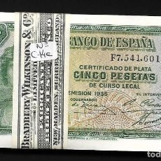 Billetes españoles: 100 BILLETES CORRELATIVOS 5 PESETAS 1935 SERIE F S/C. Lote 202092328