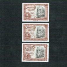 Billetes españoles: LOTE 3 BILLETES DE 1 PTS 1953 MARQUE S. CRUZ, PLANCHA , CONTIGUOS. Lote 202268726