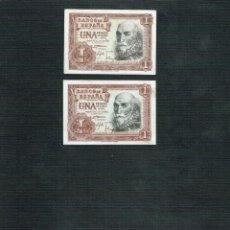 Billetes españoles: LOTE DE 2 BILLETES DE1 PTS 1953 MARQUES DE S. CRUZ. Lote 202270751