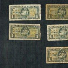 Billetes españoles: LOTE 5 BILLETES DE 1 PTS 1940 LA NAO, DIVERSAS SERIES. Lote 202319301