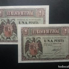 Billetes españoles: BILLETES DE 1 PESETA FEBRERO 1938 SERIE E PAREJA RARA ESTADO SC. PLANCHA RIGUROSA. Lote 202481813