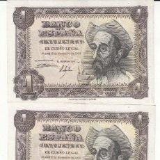 Billetes españoles: 5 BILLETES: 1 PESETAS 19 NOVIEMBRE 1951 -- CONSECUTIVOS / SERIE R. Lote 202864328