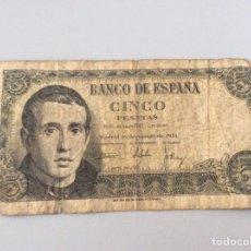 Notas espanholas: 5 PESETAS 1951. Lote 203149698