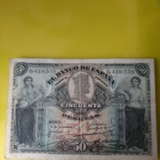 Billetes españoles: 1907 15 JULIO 50 PESETAS BANCO ESPAÑA MADRID SIN SERIE 6410339 IMPRENTA LONDRES. Lote 203354555