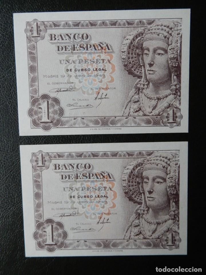 PLANCHA - SERIE E - PAREJA CORRELATIVA DE 1 PESETA DE 1948 - DAMA DE ELCHE (Numismática - Notafilia - Billetes Españoles)