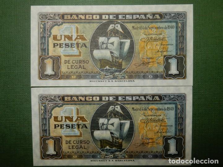 PLANCHA -SERIE D - PAREJA CORRELATIVA DE 1 PESETA DE 1940 - NAO SANTA MARIA (Numismática - Notafilia - Billetes Españoles)