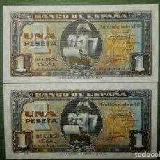 Billetes españoles: PLANCHA -SERIE D - PAREJA CORRELATIVA DE 1 PESETA DE 1940 - NAO SANTA MARIA. Lote 203446383