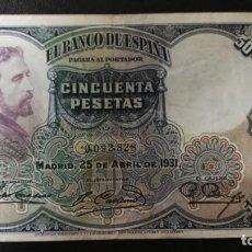 Billetes españoles: BILLETE 50 PESETAS. ROSALES. BANCO ESPAÑA. 25 ABRIL 1931.. Lote 203455111