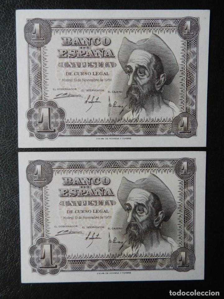 PLANCHA - SERIE F - PAREJA CORRELATIVA DE 1 PESETA DE 1951 - DON QUIJOTE (Numismática - Notafilia - Billetes Españoles)