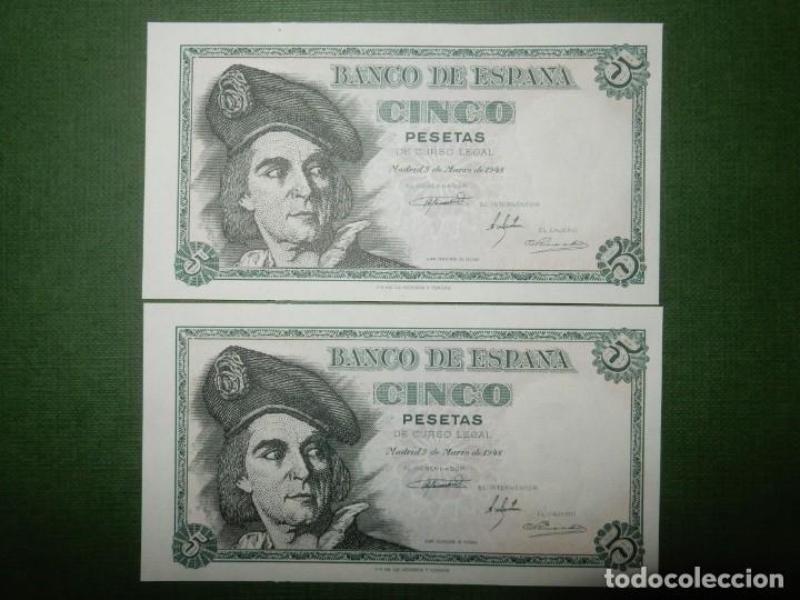 PLANCHA - SERIE J - PAREJA CORRELATIVA DE 5 PESETAS DE 1948 - JUAN SEBASTIAN ELCANO (Numismática - Notafilia - Billetes Españoles)