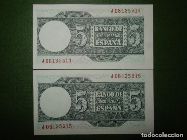 Billetes españoles: PLANCHA - SERIE J - PAREJA CORRELATIVA DE 5 PESETAS DE 1948 - JUAN SEBASTIAN ELCANO - Foto 2 - 203466891