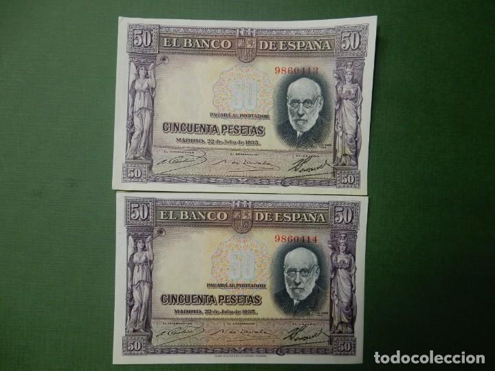 EBC - SIN SERIE - PAREJA CORRELATIVA DE 50 PESETAS DE 1935 - RAMON Y CAJAL (Numismática - Notafilia - Billetes Españoles)