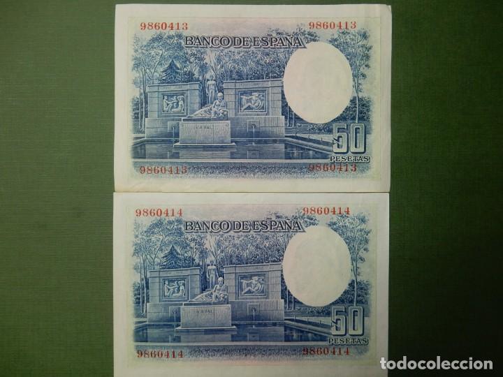 Billetes españoles: EBC - SIN SERIE - PAREJA CORRELATIVA DE 50 PESETAS DE 1935 - RAMON Y CAJAL - Foto 2 - 203471268