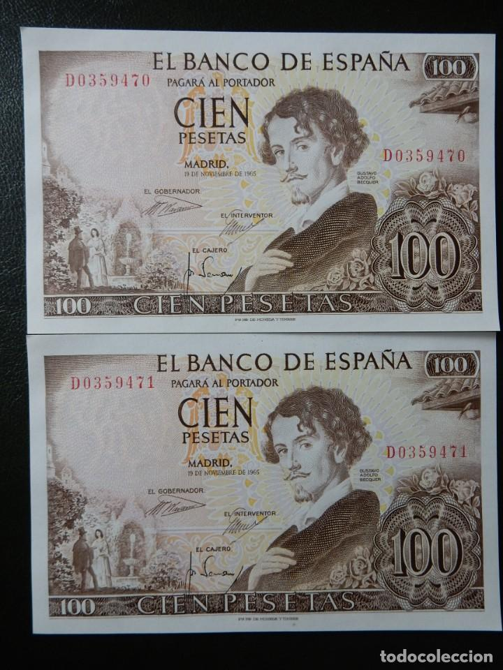 PLANCHA - SERIE D - PAREJA CORRELATIVA DE 100 PESETAS DE 1965 - GUSTAVO ADOLFO BECQUER (Numismática - Notafilia - Billetes Españoles)