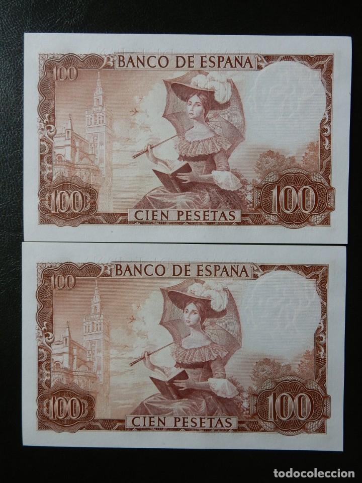 Billetes españoles: PLANCHA - SERIE D - PAREJA CORRELATIVA DE 100 PESETAS DE 1965 - GUSTAVO ADOLFO BECQUER - Foto 2 - 203473671