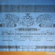 Billetes españoles: 200 REALES DE VELLON 1857 - SERIE B - BANCO DE ZARAGOZA SC - CON MATRIZ - MUY MUY ESCASO Y BONITO. Lote 203539813