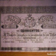 Billetes españoles: 500 REALES DE VELLON 1857 - SERIE C - BANCO DE ZARAGOZA SC - CON MATRIZ - MUY MUY ESCASO Y BONITO. Lote 203540983