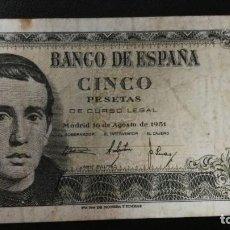 Billetes españoles: BILLETE 5 PESETAS ESPAÑA 1951.. Lote 203541285