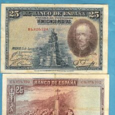 Billetes españoles: 3 BILLETES DE 25 PESETAS 1928. CALDERON. SERIES B,C,D. Lote 221624580