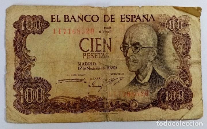 BILLETE 100 PTS CON ERROR DE IMPRESIÓN AÑO 1970 (Numismática - Notafilia - Billetes Españoles)