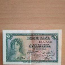 Billetes españoles: BILLETE 5 PESETAS REPÚBLICA ESPAÑOLA AÑO 1935 GUERRA CIVIL CERTIFICADO PLATA ESPAÑA EBC+ VER FOTOS. Lote 203918258