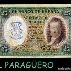 Billetes españoles: 25 PESETAS DE 1931 SELLO VIOLETA BUSTO DE FRANCO SALUDO A FRANCO ¡¡ ARRIBA ESPAÑA !!. Lote 203936066