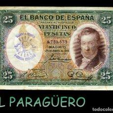 Billetes españoles: 25 PESETAS DE 1931 SELLO VIOLETA BUSTO DE FRANCO SALUDO A FRANCO ¡¡ ARRIBA ESPAÑA !!. Lote 203936380