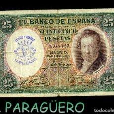 Billetes españoles: 25 PESETAS DE 1931 SELLO VIOLETA BUSTO DE FRANCO SALUDO A FRANCO ¡¡ ARRIBA ESPAÑA !!. Lote 203936390