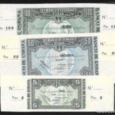 Billetes españoles: 3 BILLETES 5-50-100 PESETAS 1937 BILBAO CON MATRIZ FIRMA BANCO DE VIZCAYA S/C. Lote 203983720
