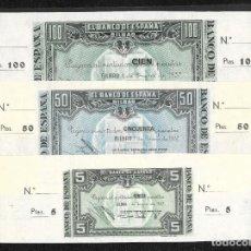 Billetes españoles: 3 BILLETES 5-50-100 PESETAS 1937 BILBAO FIRMA CAJA DE AHORROS Y MONTE DE PIEDAD S/C. Lote 203984032