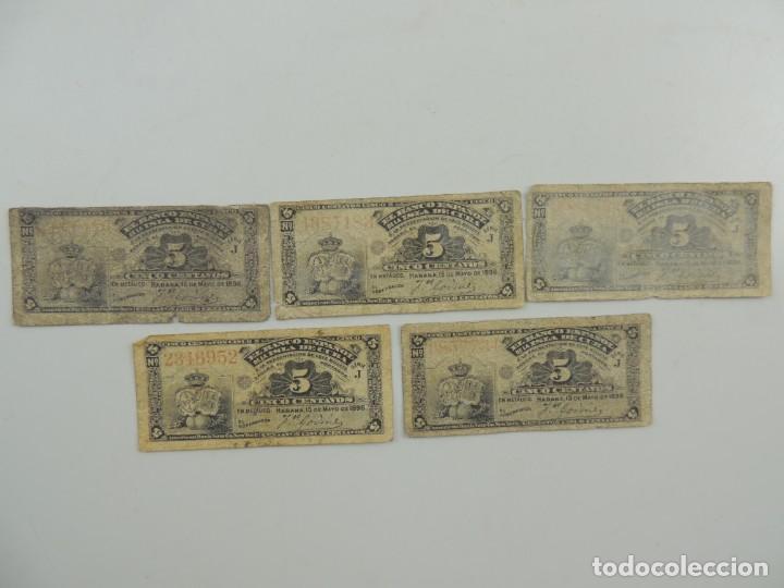 BILLETES DE 5 CENTAVOS DEL BANCO ESPAÑOL EN LA ISLA DE CUBA DEL AÑO 1896 (Numismática - Notafilia - Billetes Españoles)