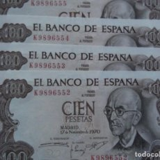Billetes españoles: LOTE 4 BILLETES CORRELATIVOS DE CIEN PESETAS MANUEL DE FALLA SIN CIRCULAR PLANCHA. Lote 204112197