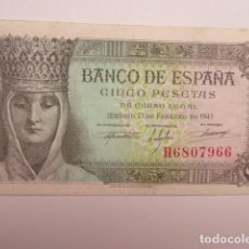 Billetes españoles: BILLETE ESPAÑA, 5 PTAS, 1943 EBC+. Lote 204118363